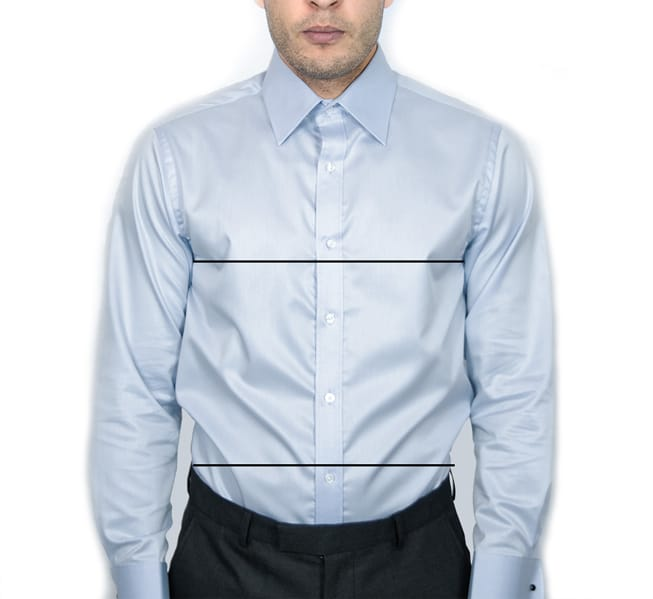 Nickson Shirts men's shirts sizing guide of a man wearing a shirt