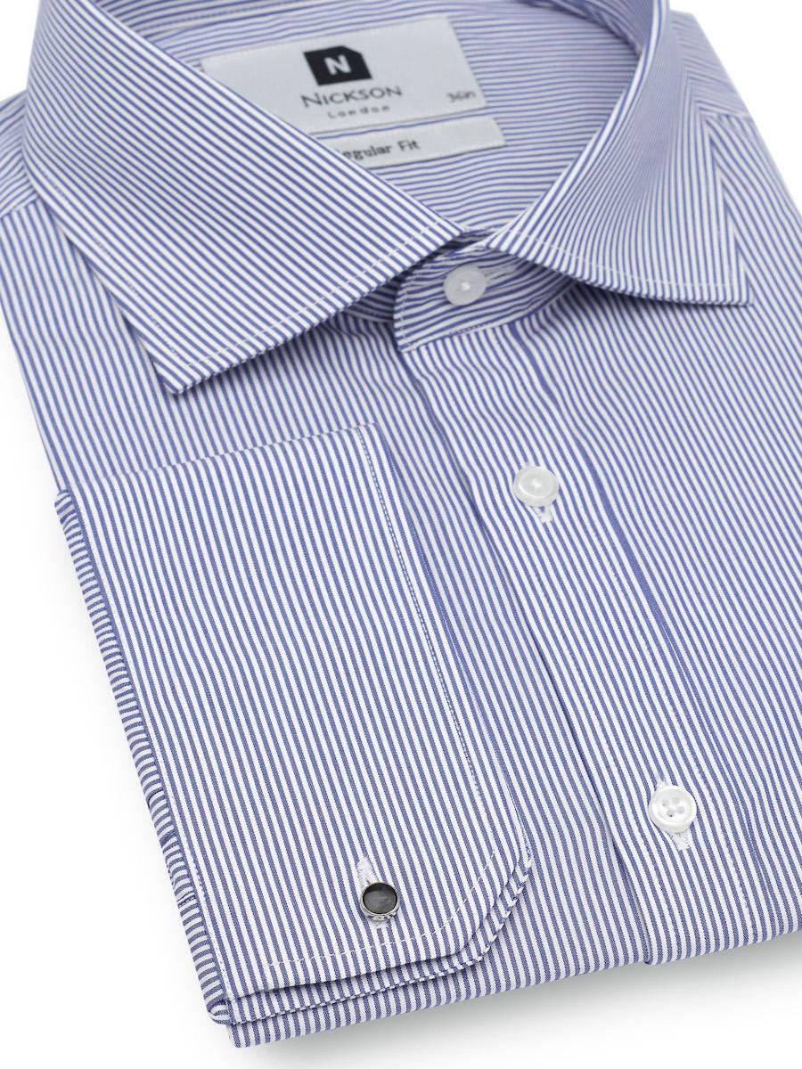 Men's Slim Fit Shirt in Dark Blue Striped, Regular Fit Shirt in Dark Blue Striped