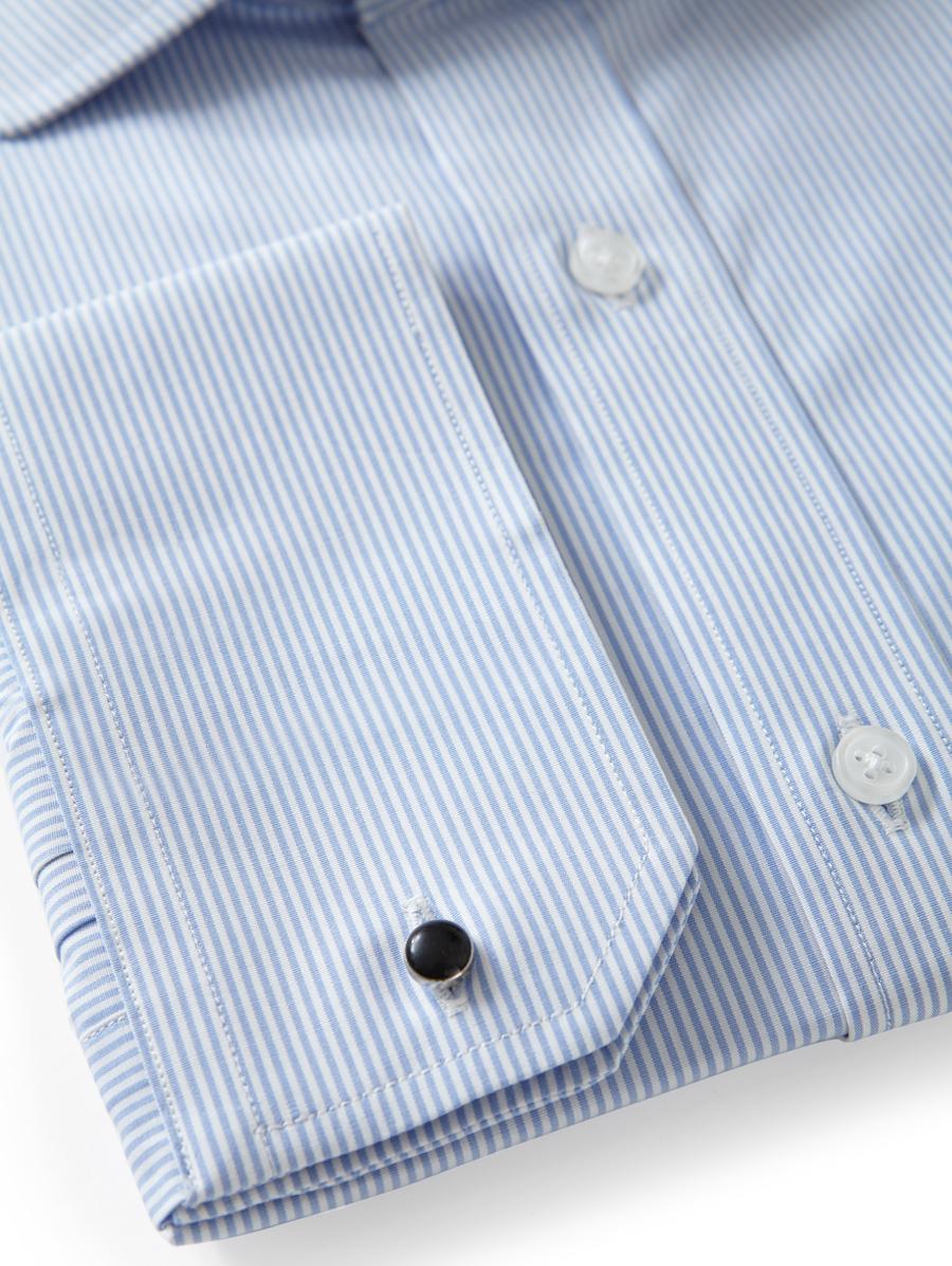 Men's Cutaway Regular Fit Shirt in Light Blue Striped