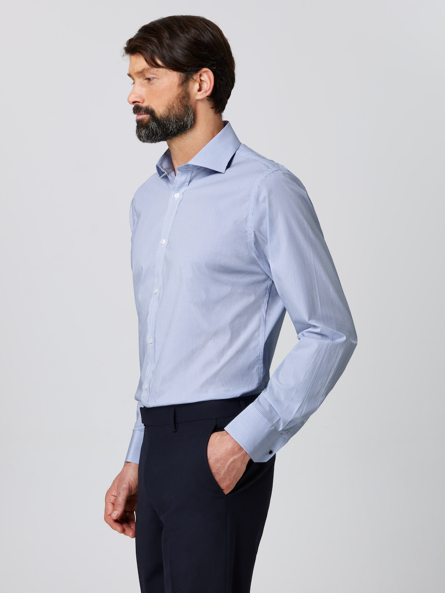 Formal Cutaway Collar Regular Fit Shirt Striped with Male Model Side shot.