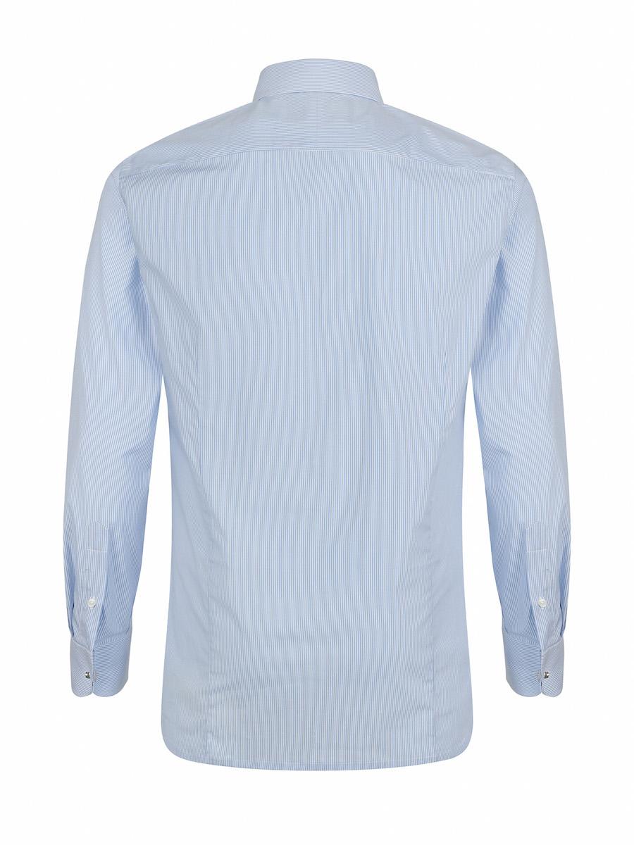 Men's Slim Fit Shirt in Light Blue Striped, Regular Fit Shirt in Light Blue Striped