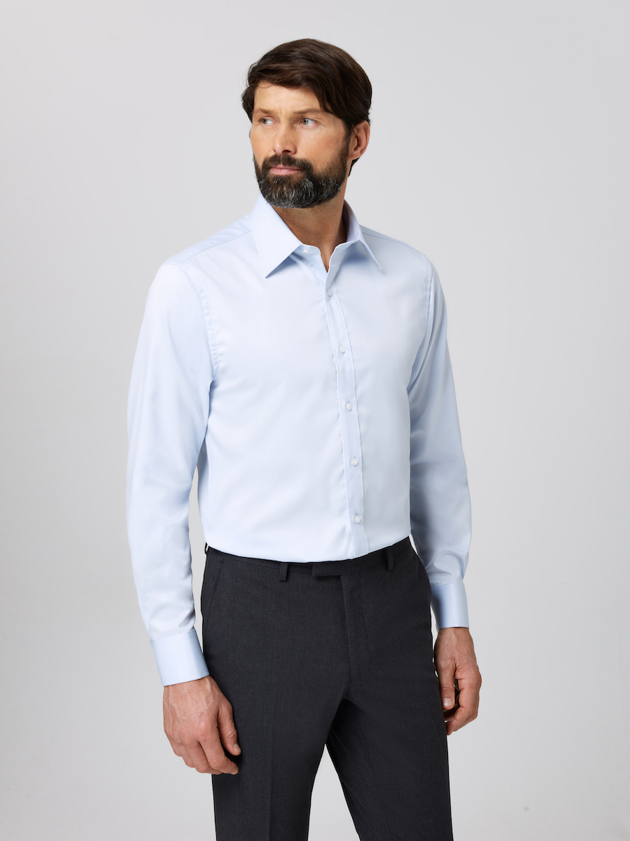 Formal Straight Point Collar Regular Fit Shirt Light Blue with Male Model Front shot.