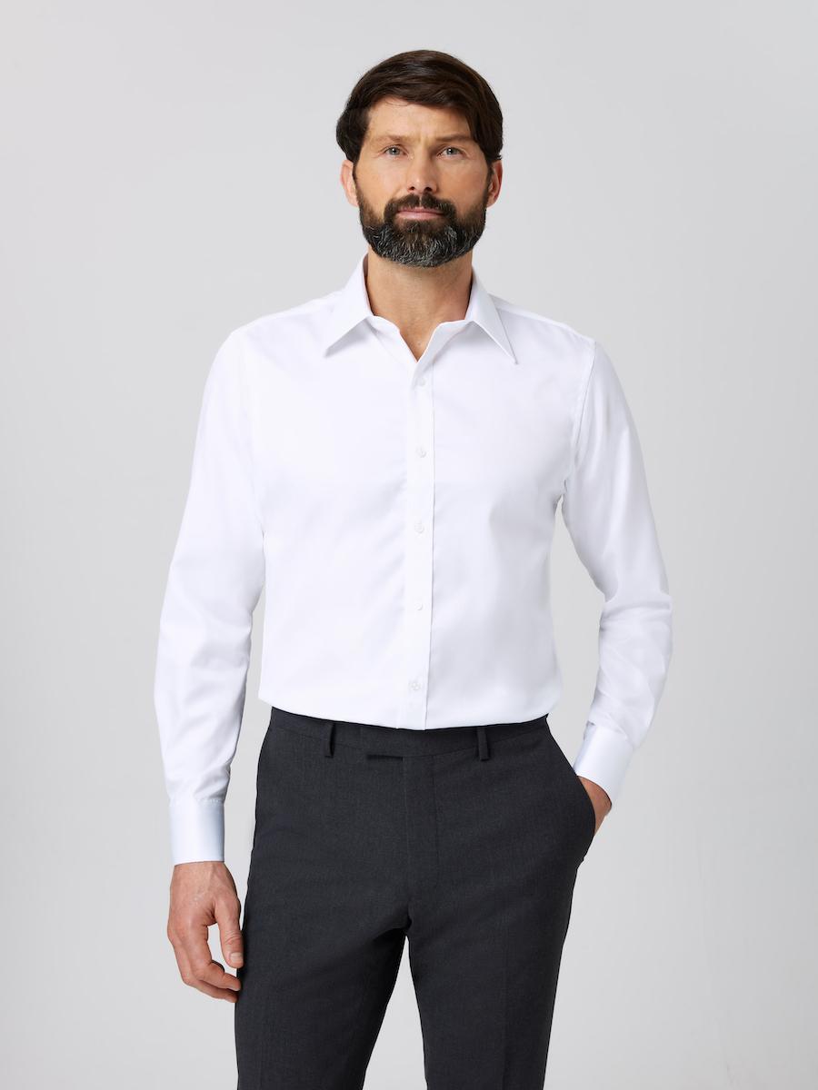 Men's Slim Fit Shirt in White, Regular Fit Shirt in White