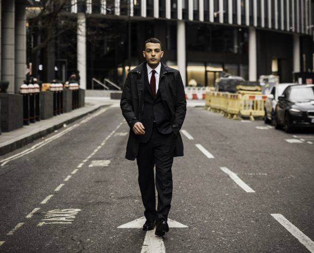 Business Formal Attire with suit and shirt in London far shot short