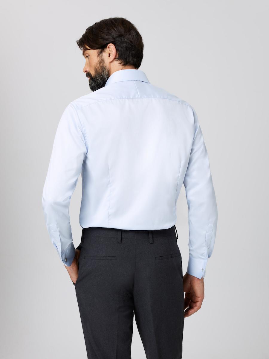 Formal Straight Point Collar Regular Fit Shirt Light Blue with Male Model Back shot.