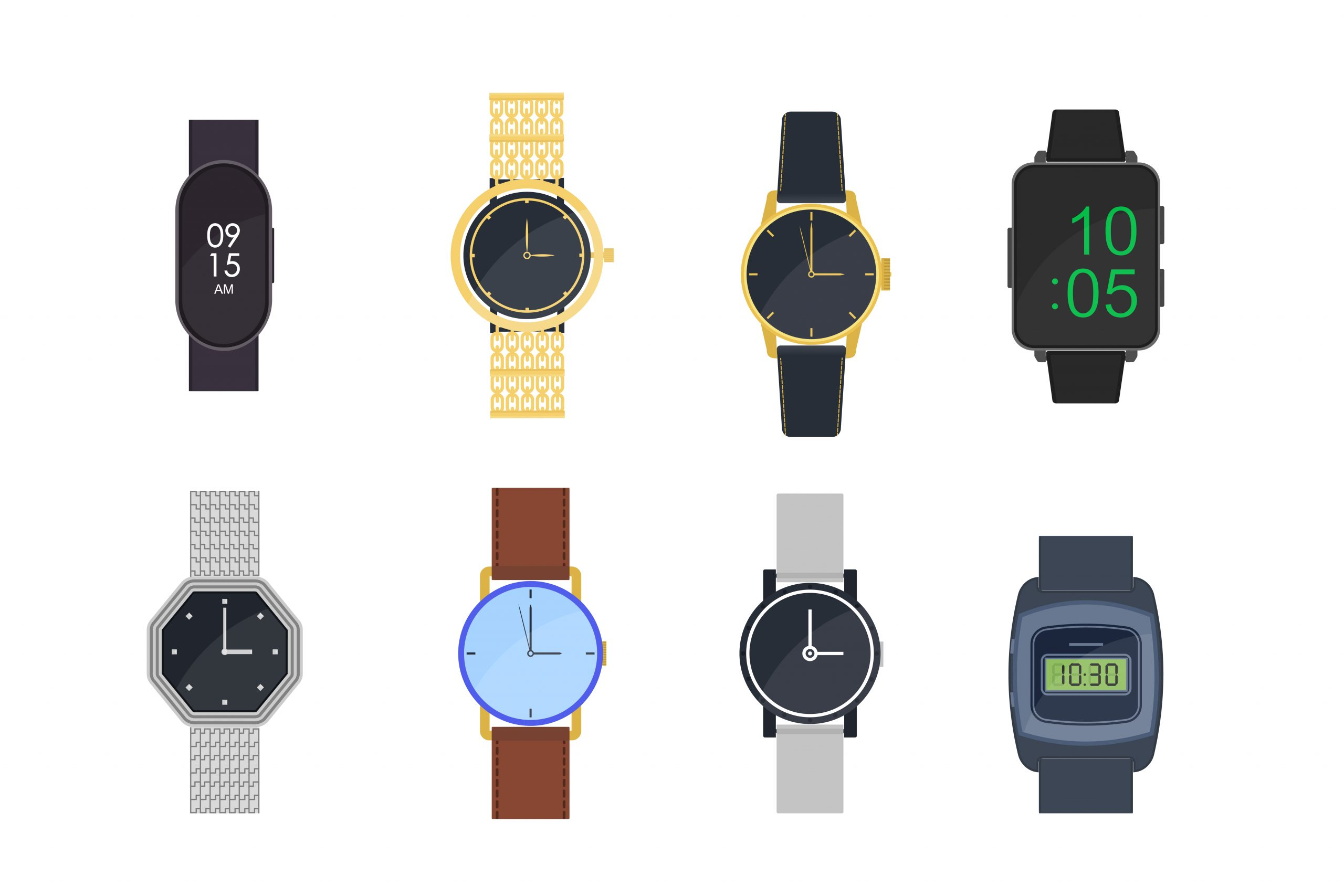 Icon graphic of men's watch styles for dress shirts